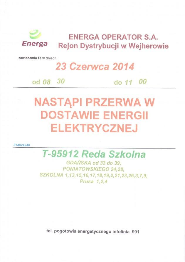 Uwaga – przerwa wdostawie energii elektrycznej