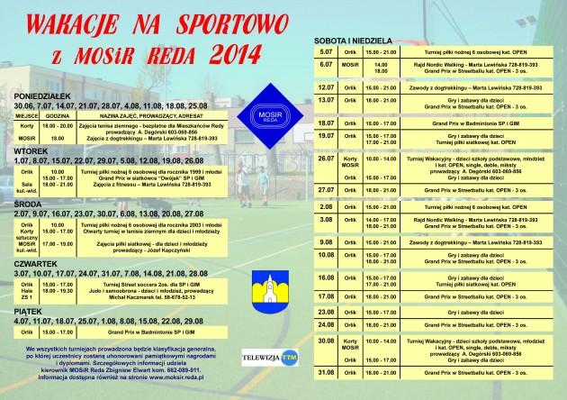 Plakat 2 Wakacje zMOSiR -2014