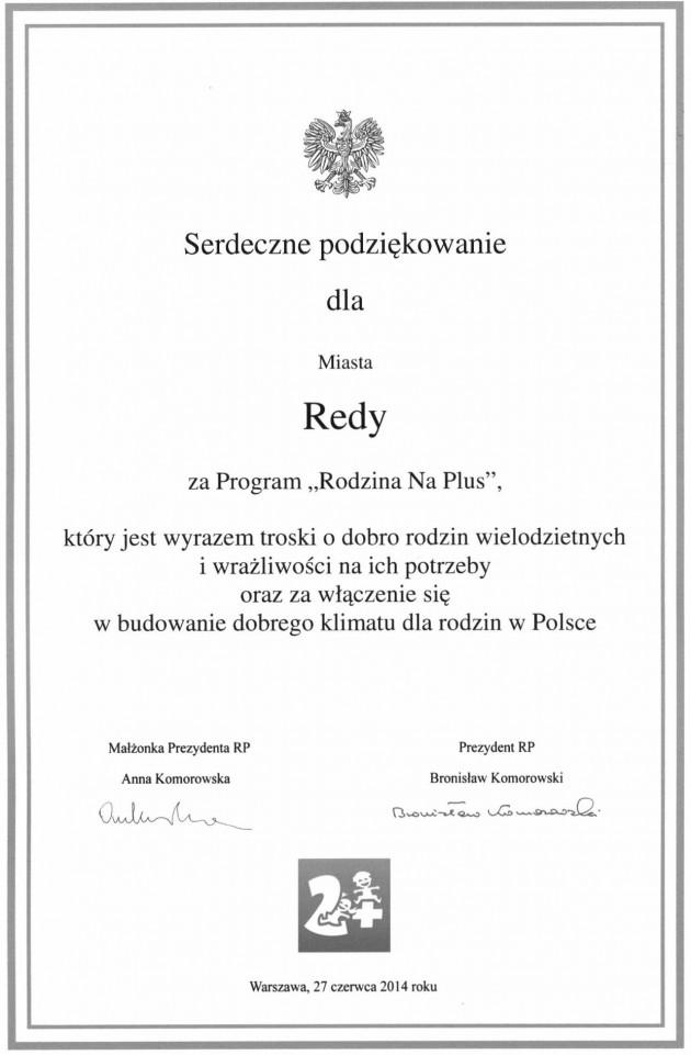 Podziękowania Prezydenta RP Bronisława Komorowskiego dla Miasta Redy