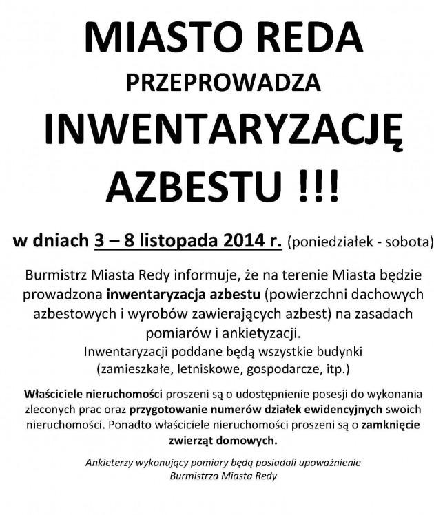 tekst plakatu azbest I