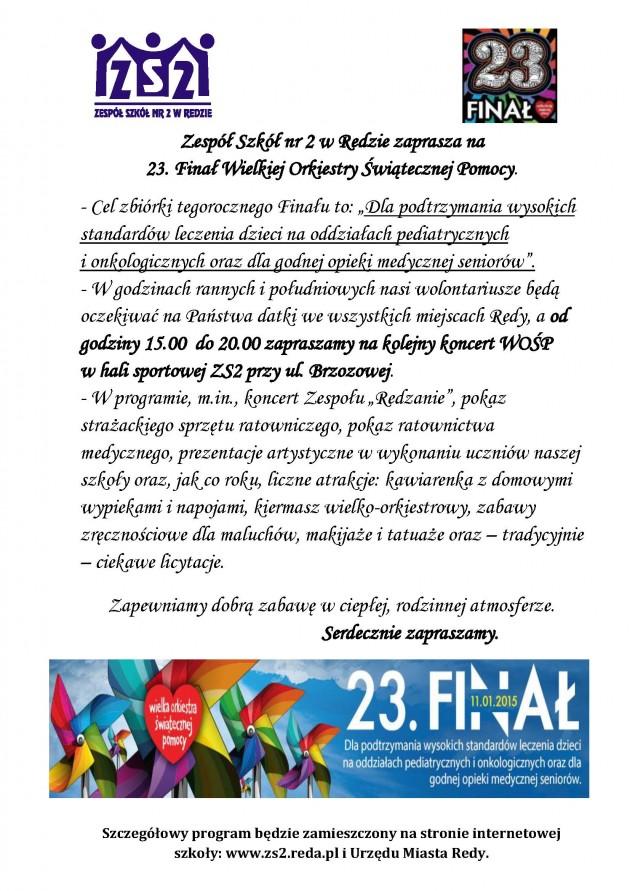 Zaproszenie nastronę miasta iszkoły, 23. Finał