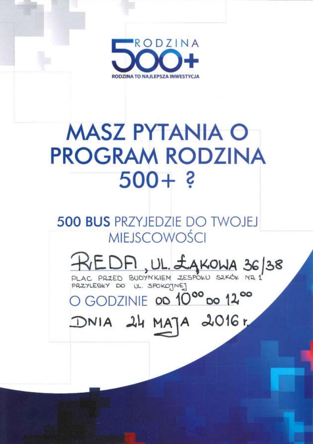 Bus Rodzina 500+ wRedzie 24 maja!