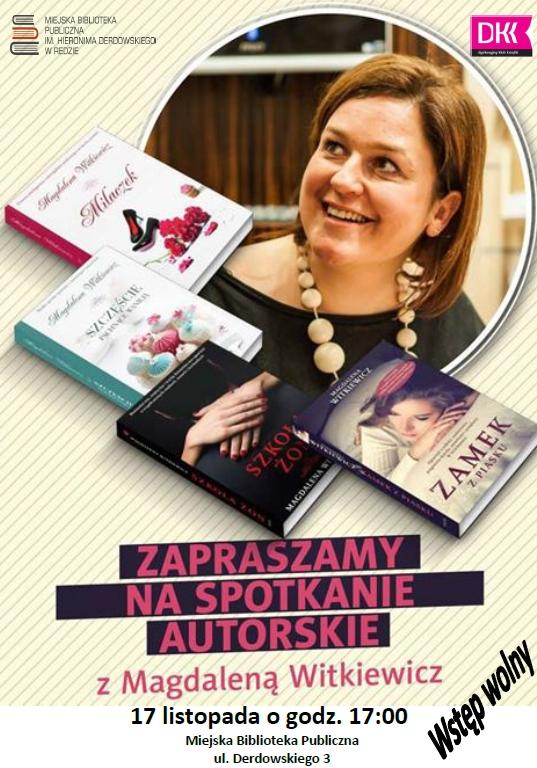 Zapraszamy naspotkanie autorskie zMagdaleną Witkiewicz
