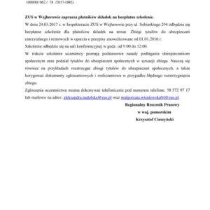 Inspektorat ZUS wWejherowie zaprasza naszkolenie