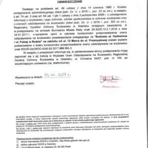 Obwieszczenie Regionalnej Dyrekcji Ochrony Środowiska wGdańsku