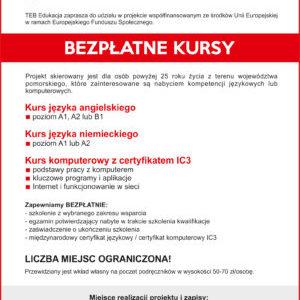 Bezpłatne kursy współfinansowane ześrodków UE