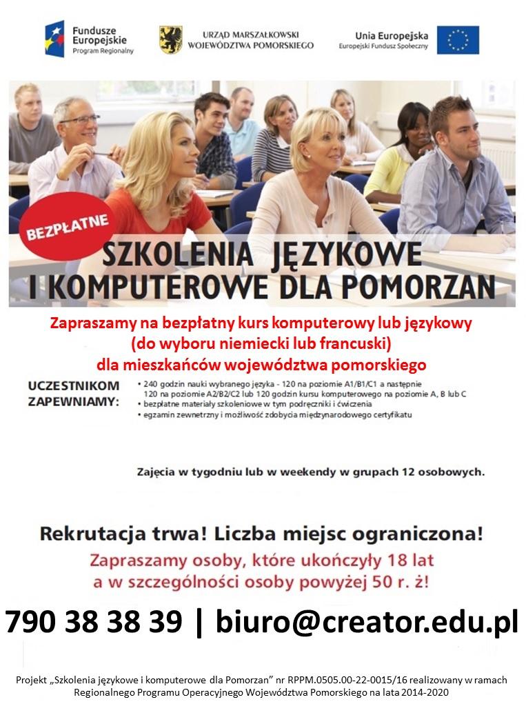 """Rekrutacja doprojektu UE """"Szkolenia językowe ikomputerowe dla Pomorzan"""""""