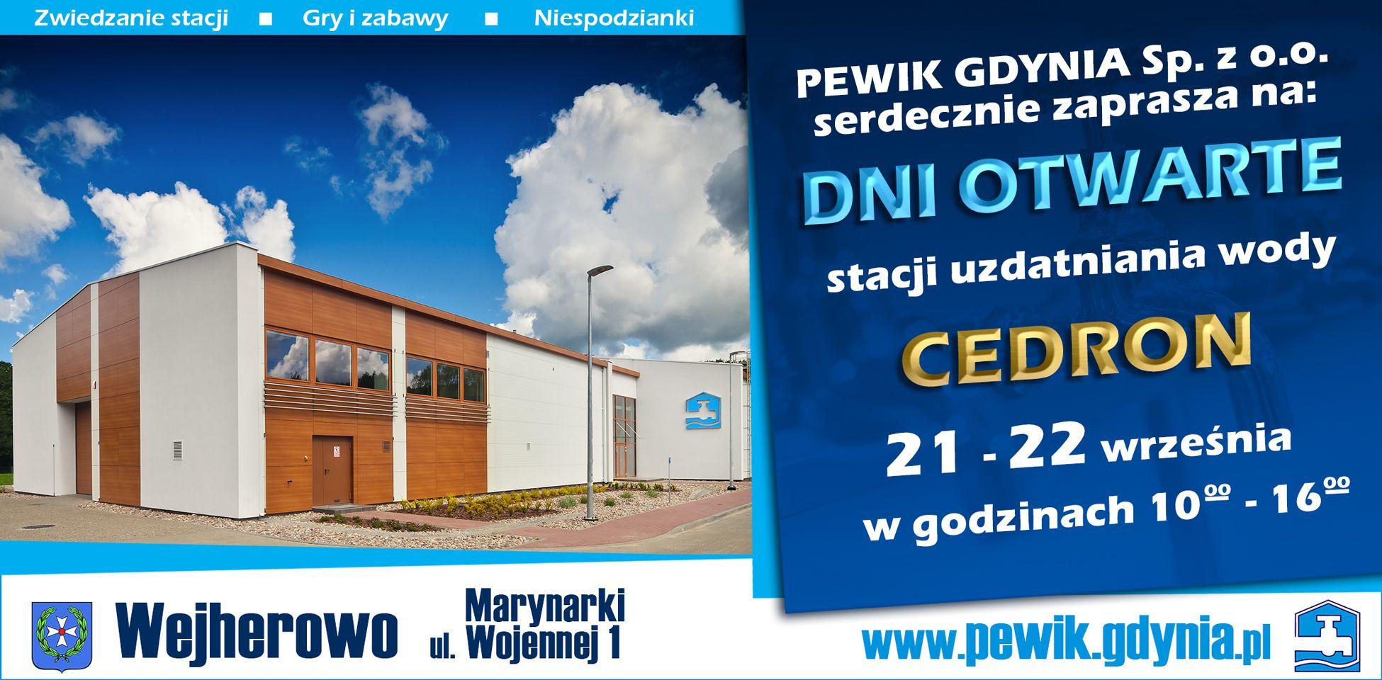 21 – 22 września zapraszamy naDni Otwarte stacji uzdatniania wody CEDRON wWejherowie