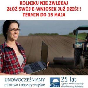 UWAGA ROLNICY! Informacja dot. naboru wniosków oprzyznanie płatności bezpośrednich narok 2019