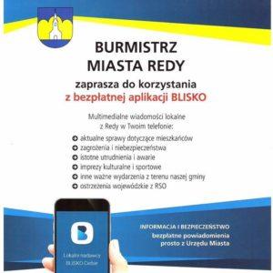 """Zachęcamy mieszkańców dokorzystania zbezpłatnej aplikacji """"BLISKO""""!"""