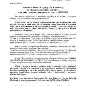 Komunikat Prezesa Krajowej Izby Kominiarzy