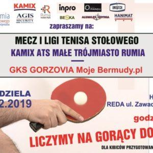 Zapraszamy na mecz I Ligi Tenisa Stołowego – niedziela 15.12.19 godz. 16:00
