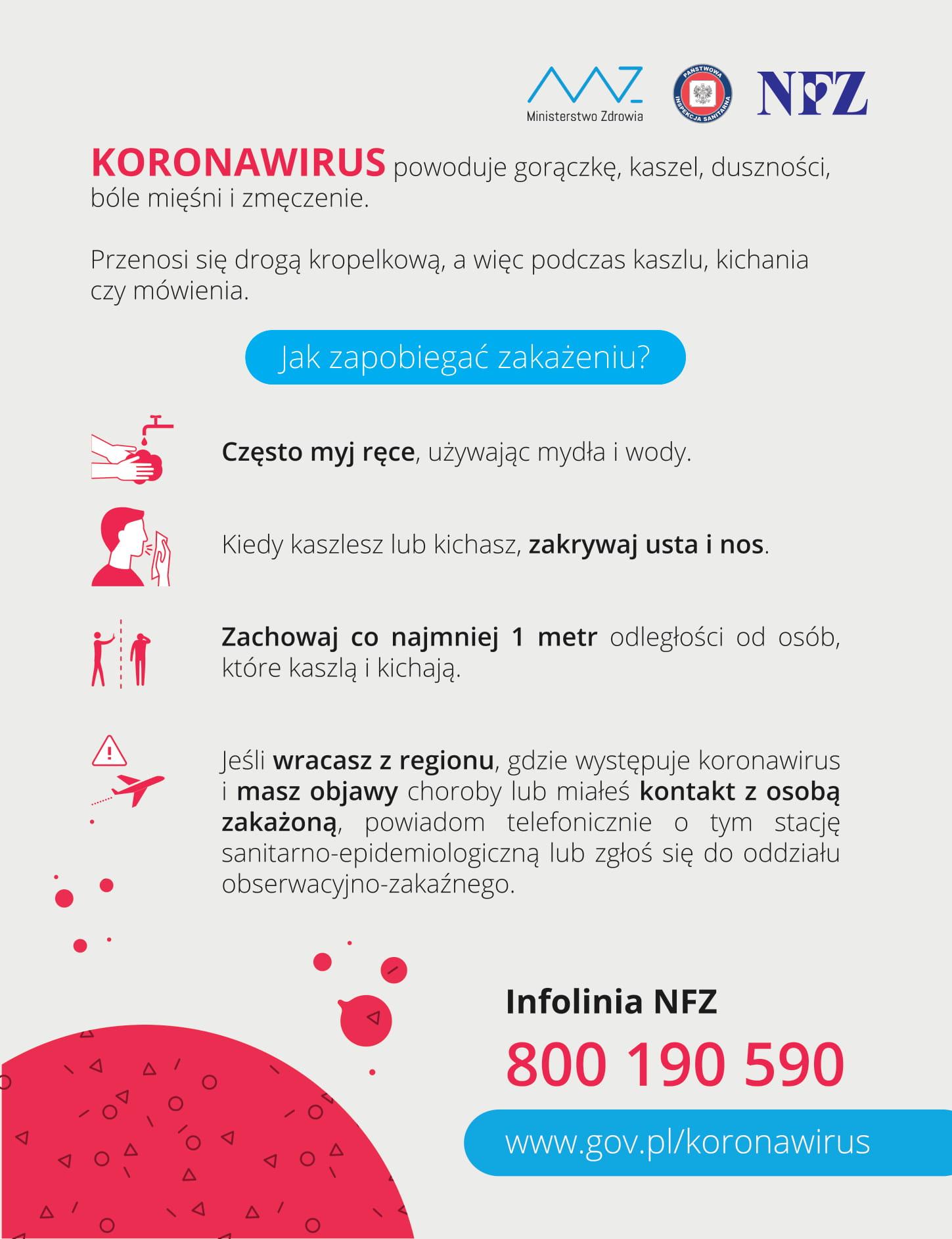 KORONAWIRUS – dowiedz się jak zapobiegać zakażeniu