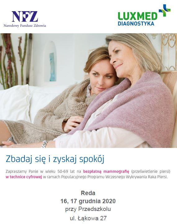 Bezpłatne badania mammograficzne wRedzie