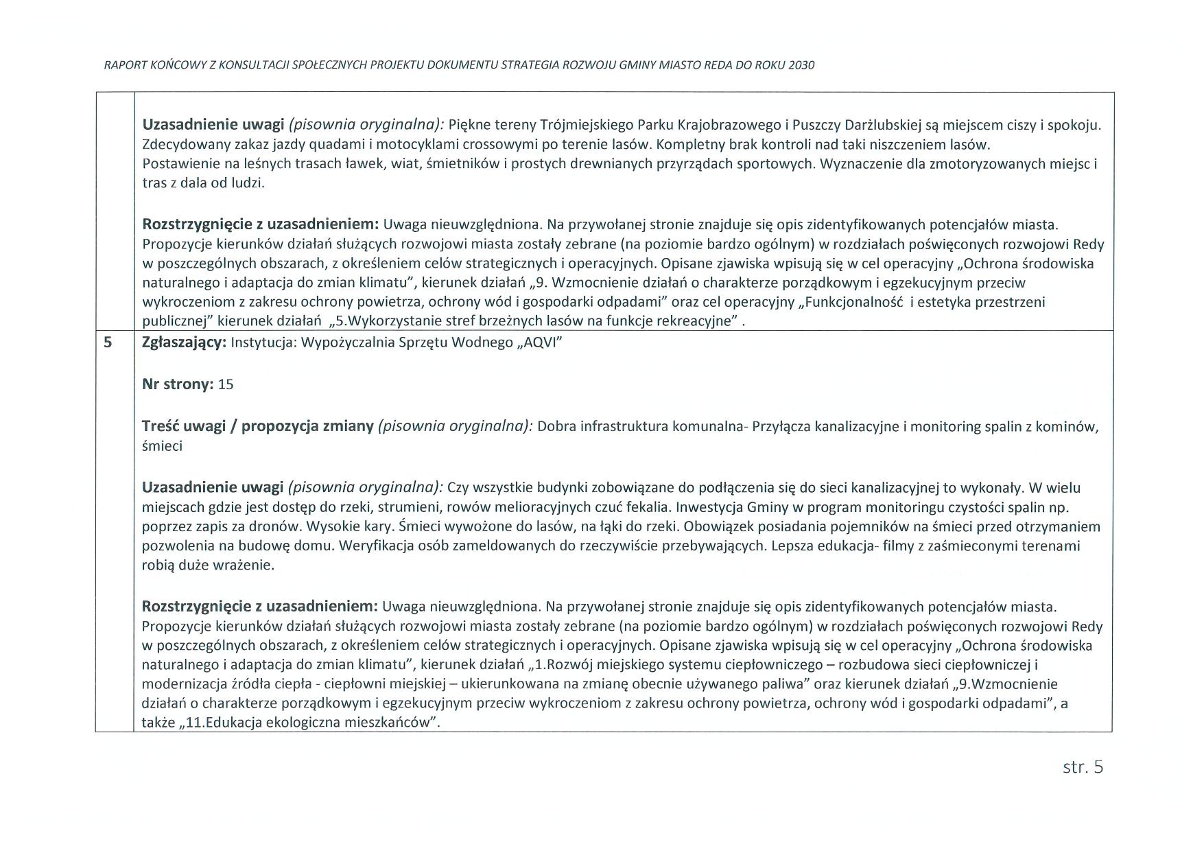 Raport końcowy zkonsultacji społecznych projektu Strategii Rozwoju Gminy Miasto Reda doroku 2030