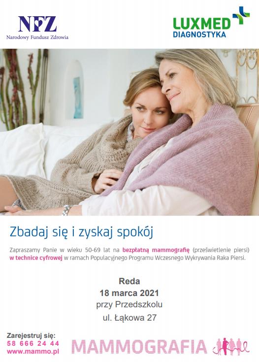 Bezpłatna mammografia wRedzie