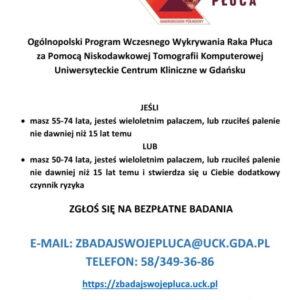 Zbadaj płuca! Weź udział w bezpłatnym programie UCK w Gdańsku