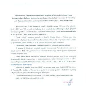 ZAWIADOMIENIE – Uproszczony Plan Urządzenia Lasu