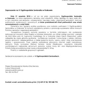 Już wewrześniu V Ogólnopolskie Senioralia wKrakowie