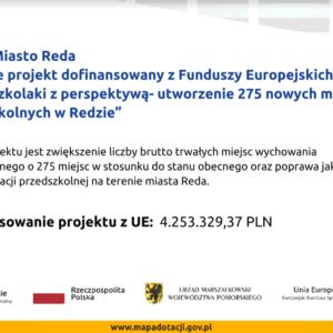 """""""Przedszkolaki zperspektywą – utworzenie 275 nowych miejsc przedszkolnych wRedzie"""""""