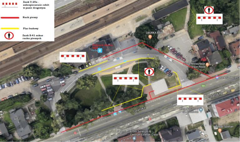 Organizacja ruchu pieszego przy dworcu PKP – teren budowy Węzła Integracyjnego