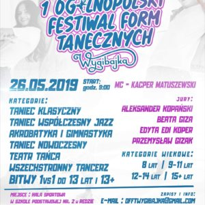 """Zapraszamy naIOgólnopolski Festiwal Form Tanecznych """"WYGIBAJKA"""" wRedzie"""