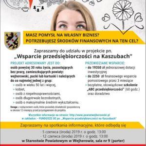 """Projekt """"Wsparcie przedsiębiorczości naKaszubach"""""""
