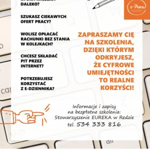 Stowarzyszenie EUREKA iUrząd Miasta wRedzie zapraszają naszkolenia!