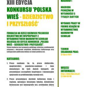 """Konkurs """"Polska wieś – dziedzictwo iprzyszłość"""""""