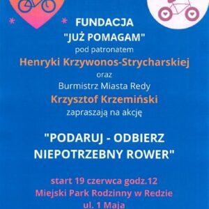 """19 czerwca – Miejski Park Rodzinny –  """"Podaruj – odbierz niepotrzebny rower"""""""